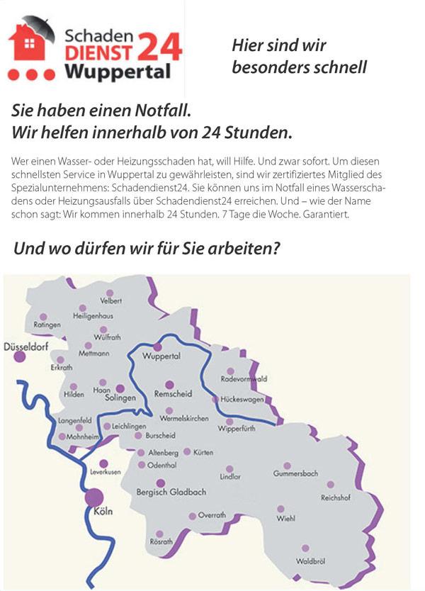Schadensdienst 24 für Wuppertal - für Reparatur Wasser- oder Heizungsschäden